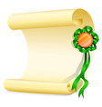 An empty paper with a green ribbon vector