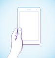 Hand holding tablet vector