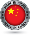 Made in china silver label with flag vector