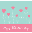 Heart flowers blue and pink valentines day vector