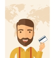Business man holding credit card vector