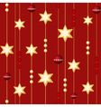 Seamless christmas balls and stars on the red back vector