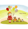 Birthday greeting card with girl vector