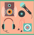 Musical icons set in flat style vector