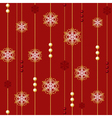 Red christmas seamless with beads and snowflakes vector