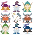 Fantasy heroes set avatars vector