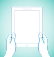 2 hand holding tablet vector