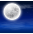 Full moon in the night sky with clouds vector