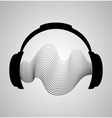 Headphones icon with sound wave beats flat vector