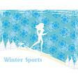 Slim girl skiing abstract card vector
