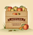 Retro crate of apples vector