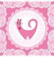 Valentines day card beautiful pink cat with heart vector