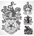 Coat of arms shield ornaments vector