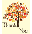 Fall tree thank you card vector