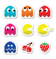 Pacman and ghosts 80s retro computer game icons vector