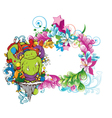 Funny monsters on a floral frame vector