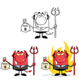 Smiling devil holding taxes bag collection vector