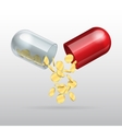 Opening red medical capsule vector