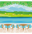 Landscape with mountains and cafe tables vector