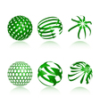 Collection of abstract green globe icons and symbo vector
