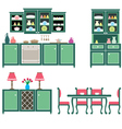 Set of kitchen furniture vector