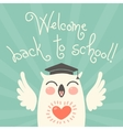 Welcome back to school card with an owl vector