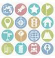 White icons map vector