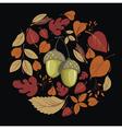 Card with autumn leaves and acorn vector