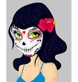 Cartoon girl in dead mask makeup vector