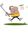 Black man swinging a golf club vector