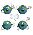 Angry earth globe set vector