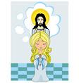Cute little girl praying to jesus vector