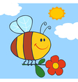 Happy bee flying with flower in sky vector