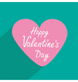 Pink heart with long shadow valentines day card vector