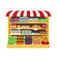 Supermarket food on shelves vector