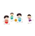 Little kids playing basketball vector