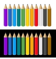 Set of color pencils on white and black background vector