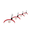 Houses and rounded roof and smoking chimney vector