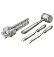 Tools logo design template chisel mallet vector