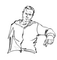 Black and white hand drawn of a relaxed sitting vector