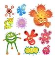 Bacteria and virus cartoon vector