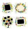 Floral photo frame vector