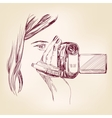 Videographer hand drawn llustration realistic vector