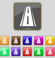 Road icon sign set with eleven colored buttons for vector