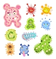Bacteria and virus cartoon vector