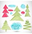 Christmas tree doodle set felt pen tree vector