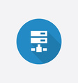 Net drive flat blue simple icon with long shadow vector