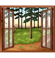 A window with a view of the trees vector