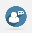 Character avatar dialogue circle blue icon with vector