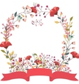 Retro floral frame and ribbon vector